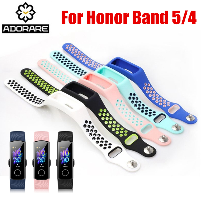 Silicone Strap For Huawei Honor Band 4 5 Smart Sport Bracelet Two-tone Porous Breathable Replace Straps For Honor Band 3 4 Band5