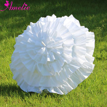 Free Shipping Childrens Girl White Ruffle Cancan Parasol Frilly Umbrella