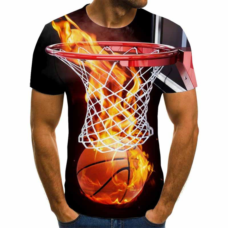 New Arrival Funny 3d T Shirt Summer Hipster Short Sleeve Tee Tops Men/Women Flame Basketball T-Shirts Homme