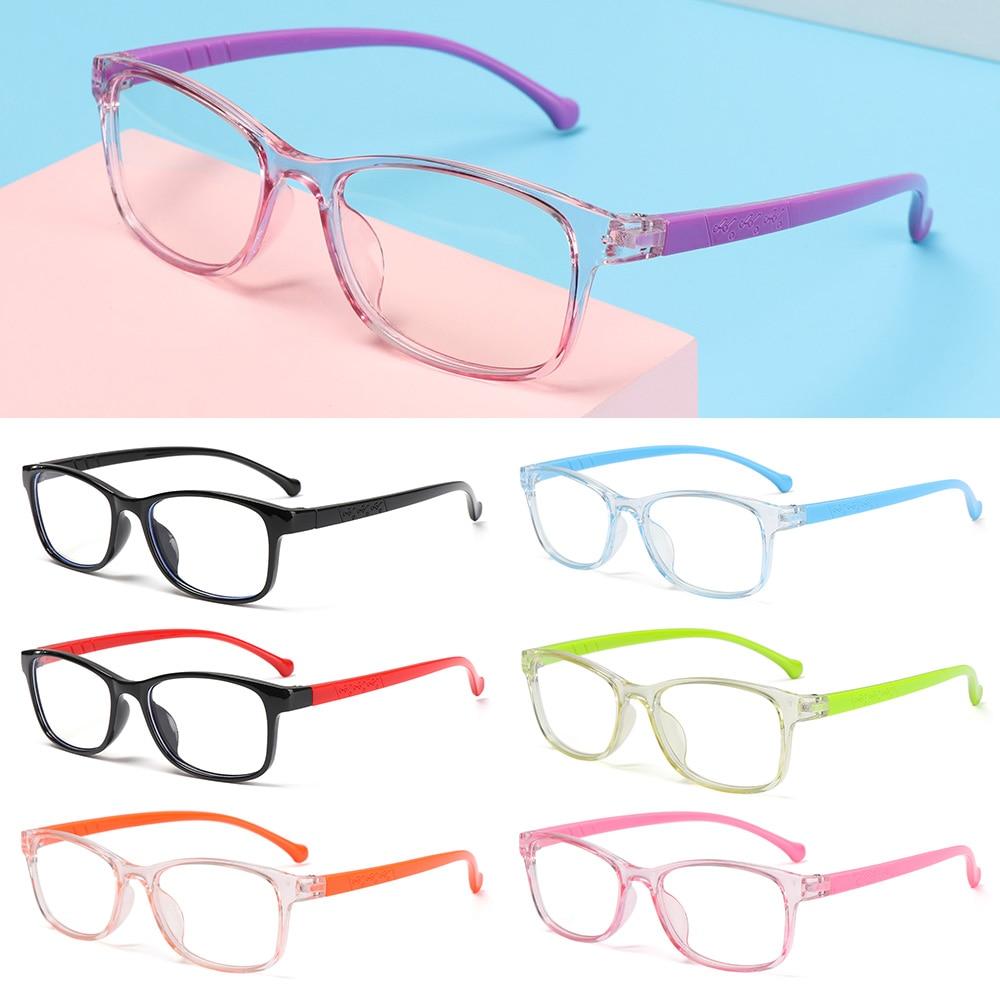 Квадратной формы с защитой от УФ-светильник дети очки оправы для очков для мальчиков и девочек с принтом в виде компьютер прозрачный Блокир...