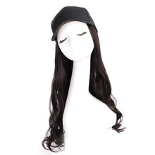 Black Star Hair Women Hats Wavy Hair Extensions With Black Cap Wig All-in-one Female Baseball Cap(China)