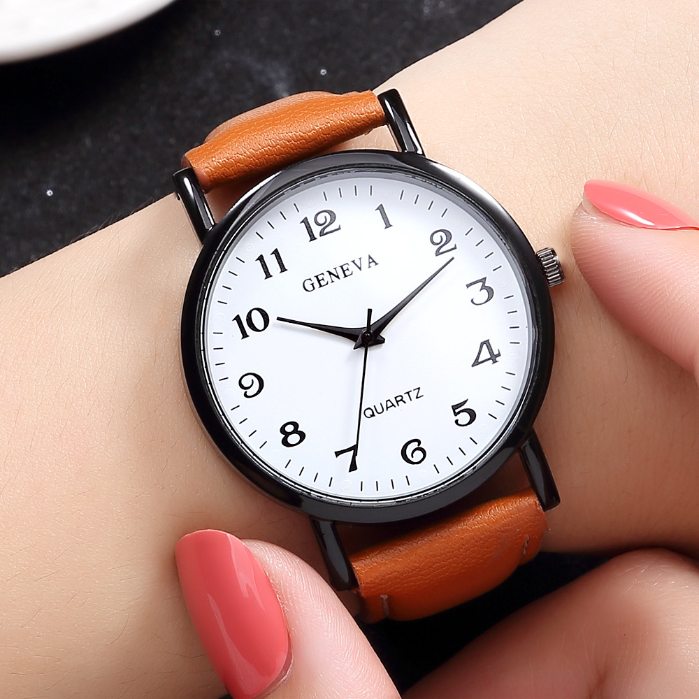 Quartz Watch Women Fashion Sport Watches Stainless Steel Case Leather Band Quartz Analog Wrist Watch Montres Femmes 2019 Luxe