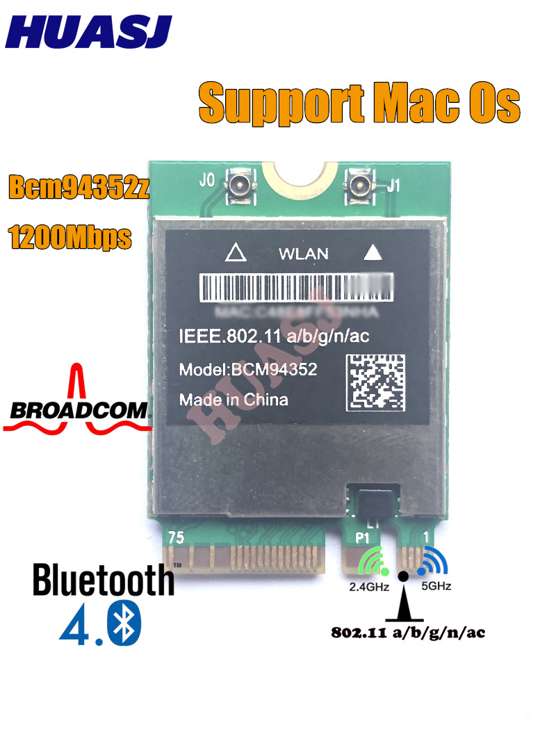 Huasj Broadcom BCM94352Z DW1560 802.11a/b/g/n/ac WLAN + Bluetooth 4.0 M.2 NGFF Mini Card 1200Mbps Wireless Lan wireless card(China)