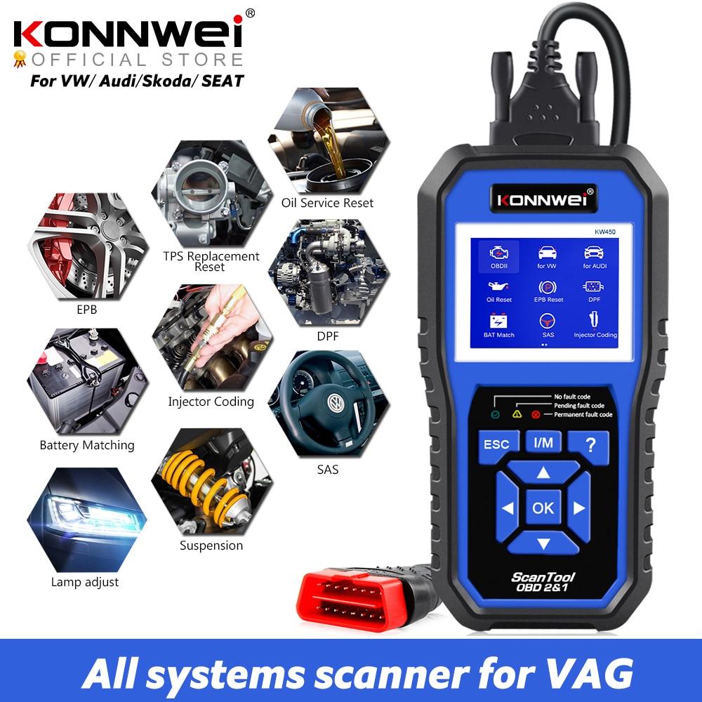 KONNWEI KW450 OBD2 teşhis aracı VAG arabalar için VW Audi ABS hava yastığı yağ ABS EPB DPF SRS TPMS sıfırlama tam sistemleri tarayıcı VAG COM
