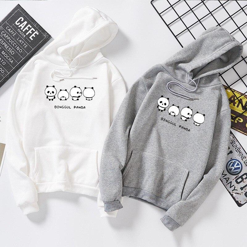 DeRuiLaDy 2019 Fashion Couple Oversized Hoodies For Women Men Fall Winter Anime Panda Print Sweatshirt Casual Hoodie Streetwear