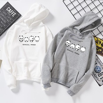 DeRuiLaDy 2019 Fashion Couple oversized Hoodies For Women men Fall Winter Anime Panda Print Sweatshirt Casual Hoodie Streetwear худи print bar panda pilot