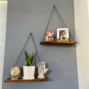 Nordic Wall Rope Hanging Shelf organizer with Wooden Tray Jute Rope String Bonsai Flower Pot Basket Frame Organizer Rack Holder