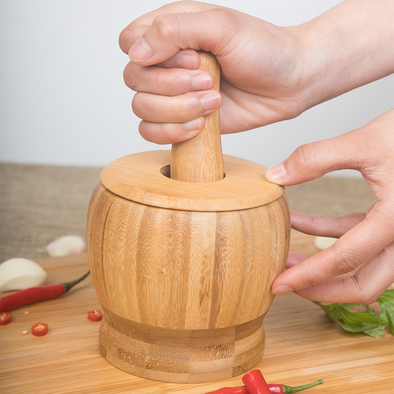 Mill Wooden Mortar And Pestle Set Garlic Pot Grinding Bowl Kitchen Tools & Gadgets Herb Mill Crusher