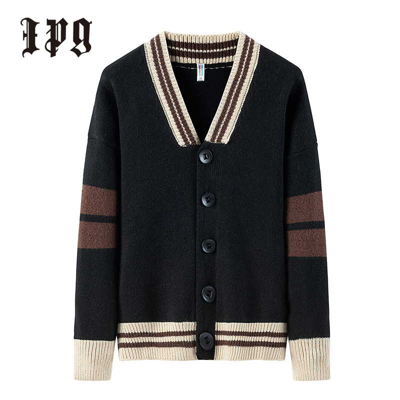 Ipg New Fashion Cardigan Jumper Sweaters Japanese-style Casual Men Clothing Stitching Color Sweater Autumn Men Tops Thin Coat