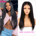 Alibele 4x4 Lace Closure Wig Straight Human Hair Wigs 150% Density Malaysian Straight Hair Lace Closure Wig For Women 12-30 inch