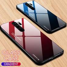 Otao Gradien Tempered Glass Case untuk Xiao Mi Merah Mi Note 5 6 7 8 Pro K20 9H Pelindung kaca Back Cover Mi F1 9 8 Lite CC9 Case(China)