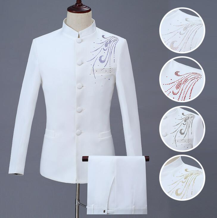 White Blazer Men Chinese Tunic Suit Set With Pants Stand Collar Mens Wedding Suits Costume Singer Stage Clothing Formal Dress