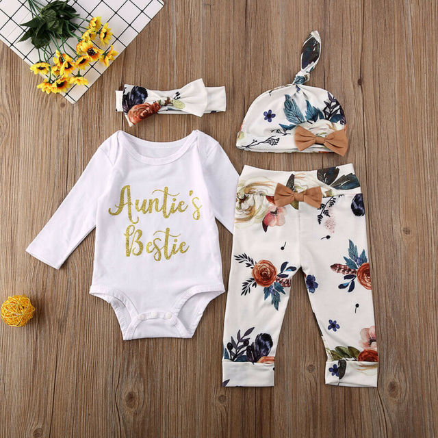 Newborn Baby Girls Boys CottonOutfit Suit Clothes Long Sleeve Auntie Letter Printed Romper+Pants+Hats+Headband 4Pcs Toddler Set | HOTSHOPDIRECT