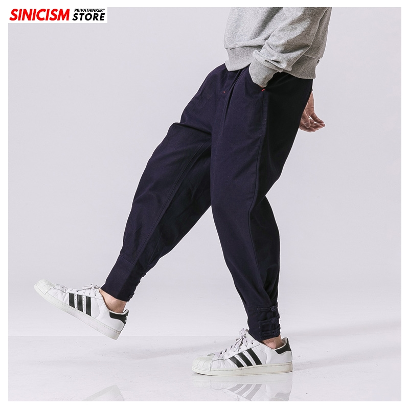 Sinicism Store Chinese Style Harem Pants Men 2020 Solid Spring Casual Trousers Mens Loose Japan Style Harem Pants Male Bottoms