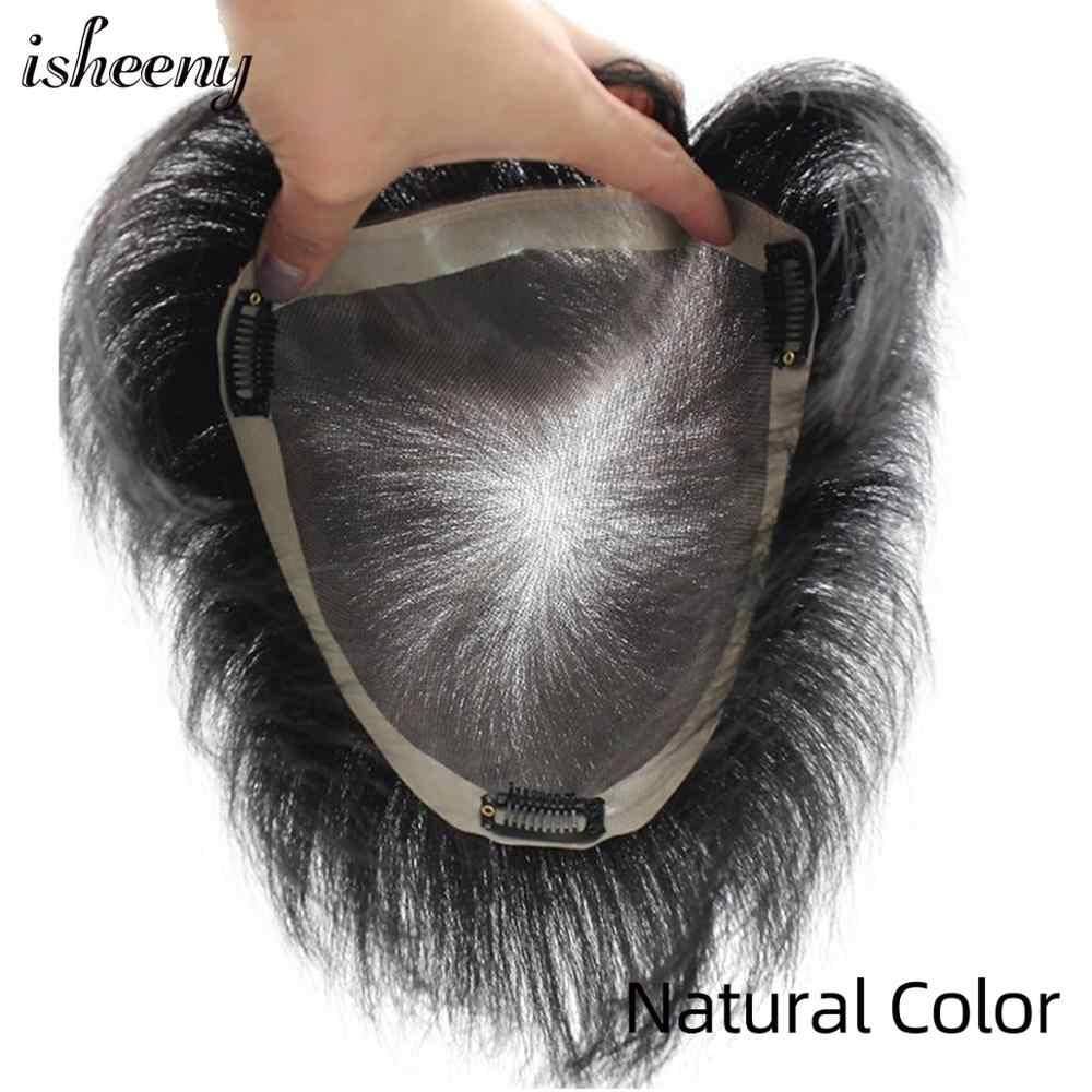 Isheeny Short Remy Human Hair Piece 18*20 cm MONO PU Base Wavy Women Topper Wig With Bang