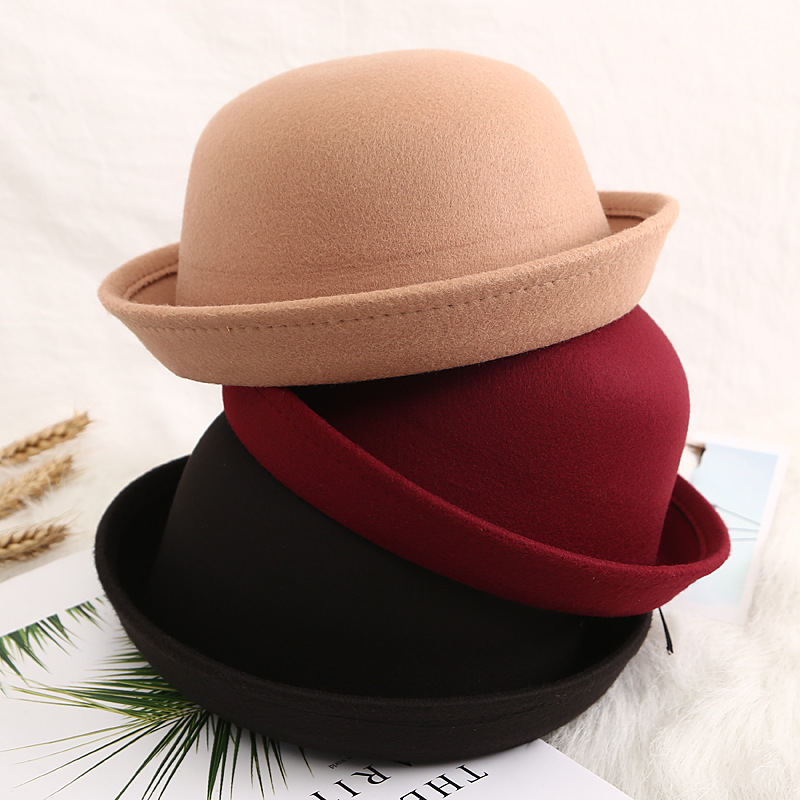 New women's classic solid-colored felt fedoras, faux wool blend jazz hat, simple church Derby top hat with rolled hem top hat image