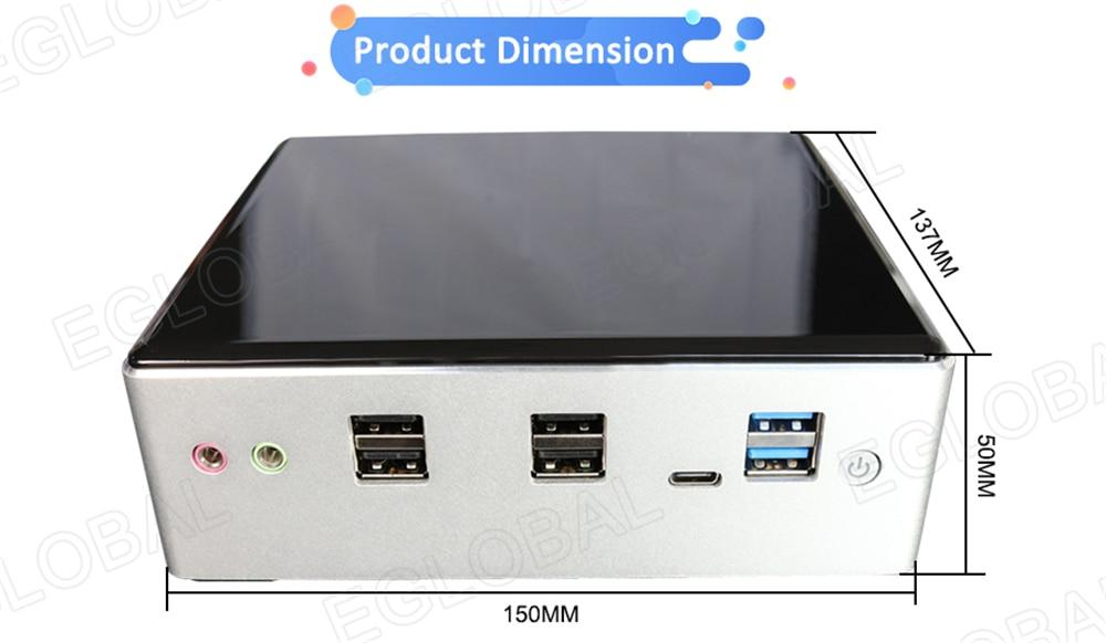 2 * DDR4 Pocket Mini PC Win 10 Intel Core i5 8250U i7 8550U 2 * Lans Micro PC NVMe m.2 UHD Graphics 620 WiFi HDMI VGA DP USB C 2 * COM - 5