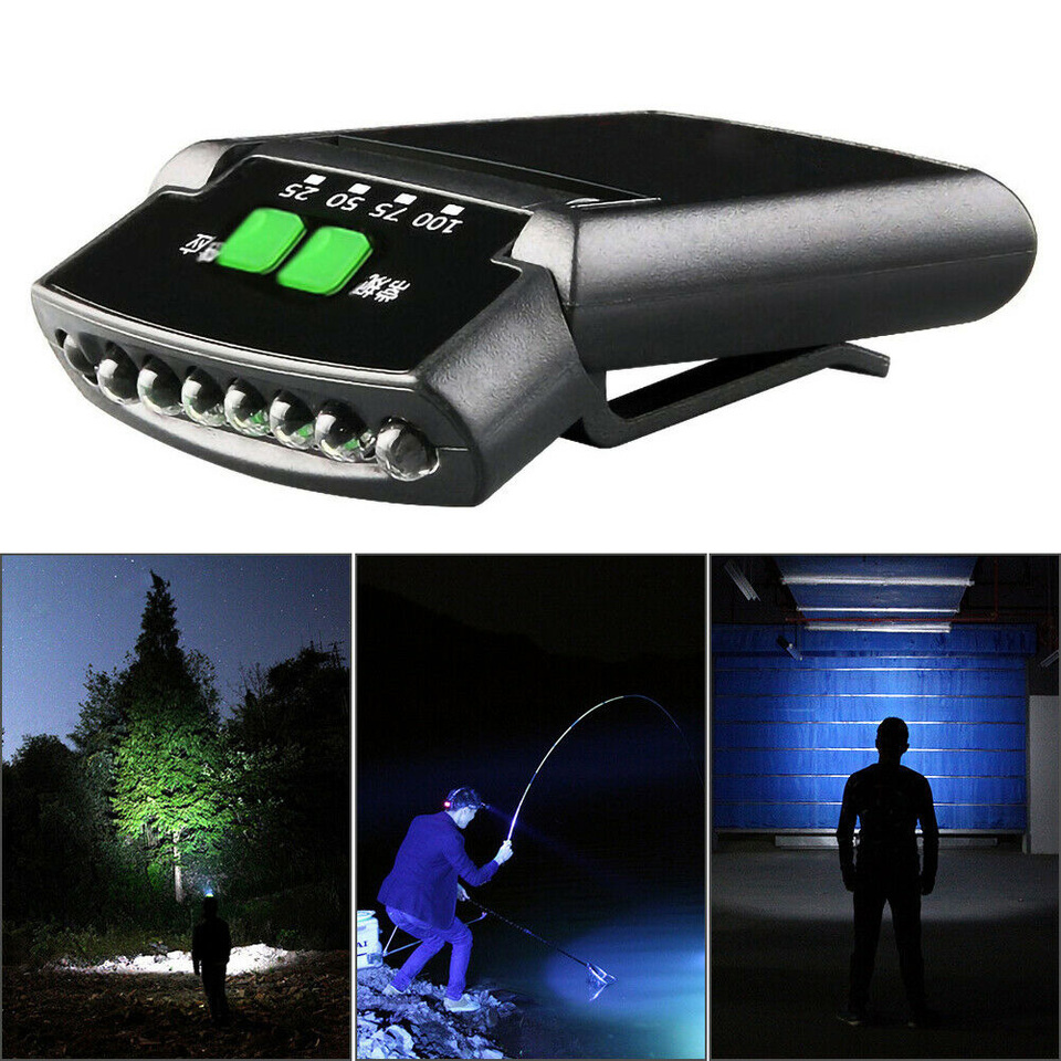 Outdoor Bright USB Rechargeable Clip On Hat Sensor Rotatable Head Lamp 6-Led
