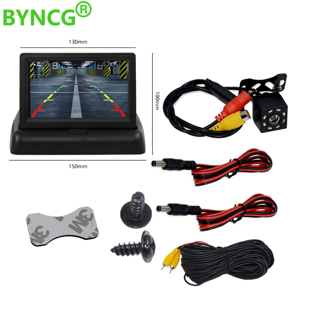 <font><b>4.3</b></font> <font><b>inch</b></font> Foldable Car <font><b>Monitor</b></font> TFT LCD Display Cameras Reverse Camera Parking System for Car Rearview <font><b>Monitors</b></font> NTSC PAL image