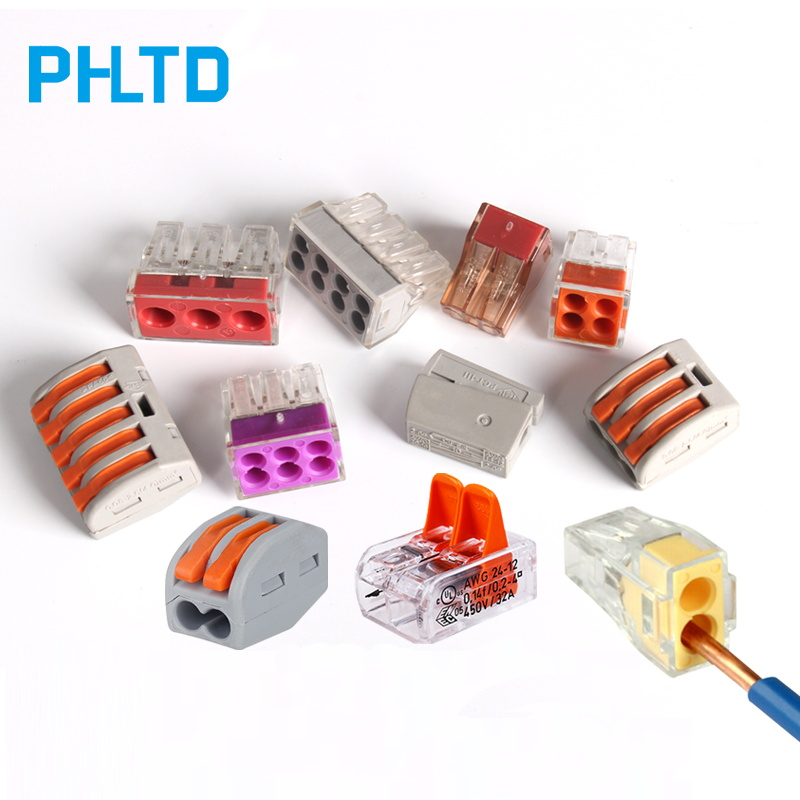 PCT-212 PCT-213 PCT-604 Compact Wire Connector Terminal Block with Lever 0.08-2.5mm2 Plug-in Wire Connector