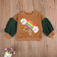Sweatshirts Girls Baby Kids Toddler Casual Blouse Floral-Top Patchwork Long-Sleeve Round-Neck