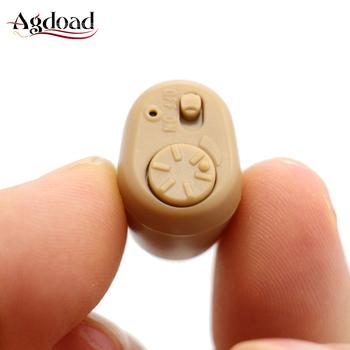 Mini aparaty słuchowe głuchota w uchu aparaty słuchowe dla osób starszych głuchy audifono para sordo zasilanie bateryjne wzmacniacz dźwięku tanie i dobre opinie agdoad 103128 Mini hearing aids Sound Amplifier Button battery operate