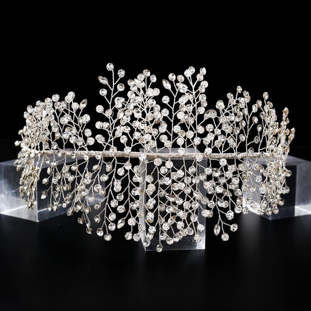TRiXY H258 Luxury Crystal Wedding Headband Romantic Silver Full Rhinestone Wedding Tiara and Crown Handmade Wedding Headpieces