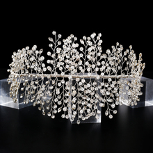 TRiXY H258 Stunning Crystal Wedding Headband Elegant Silver Full Rhinestone Wedding Tiara and Crown Handmade Wedding Headpieces