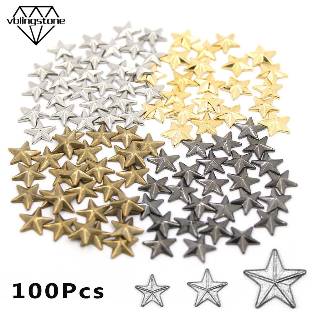 8/10/15mm Star Shape Hot Fix Stud 100pcs Hot Fix Rhinestuds Rivets On Clothes DIY Punk Accessories Gold Sliver Black Rhinestuds