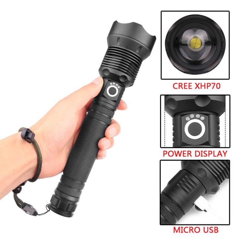 Litwod Z90 + 1282 50000lm Мощный тактический светодиодный фонарик CREE XHP70.2 18650 26650, перезаряжаемый аккумулятор