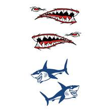 4 Pieces Funny Shark Teeth Mouth + Shark Decals Stickers for Outdoor Kayak Canoe Fishing Boat Wall Car Motorcycle(China)