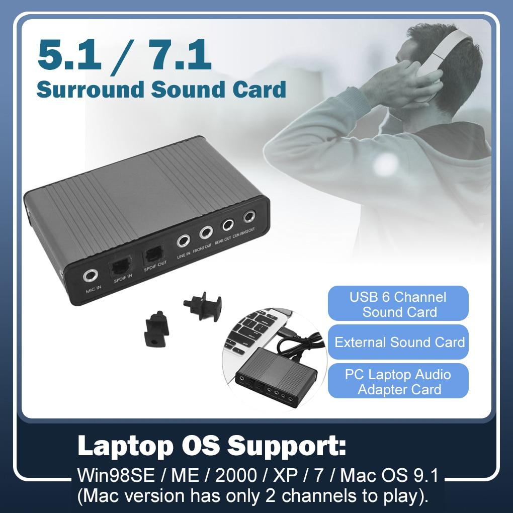 Professional USB Sound Card 6 Channel 5.1 Optical External Audio Card Converter CM6206 Chipset For Laptop Desktop