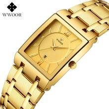 цены WWOOR Luxury Men Watches Square Quartz Gold Watch Men Top Brand Date Clock Waterproof Business Male WristWatch relogio masculino