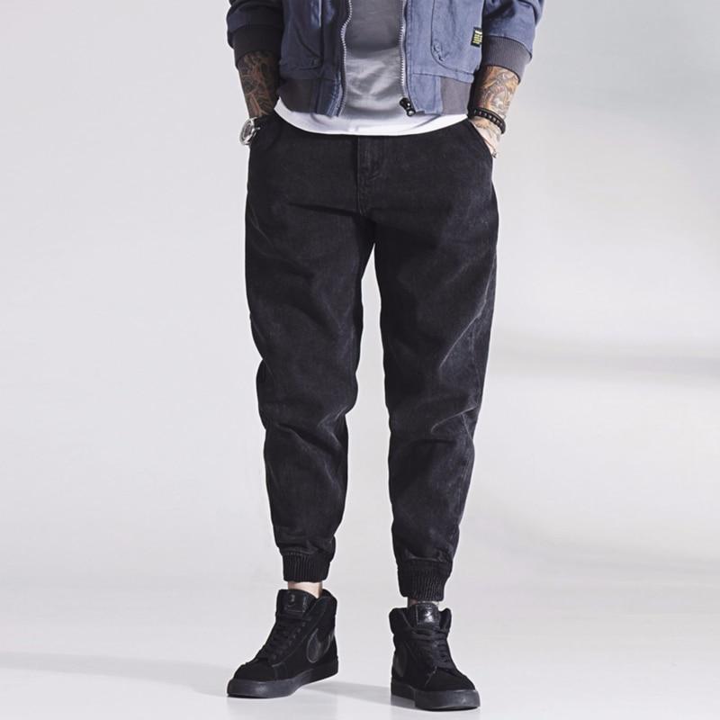 Japanese Style Fashion Men Jeans Big Size 28-42 Loose Fit Spliced Cargo Pants Harem Jeans Streetwear Hip Hop Joggers Jeans Homme