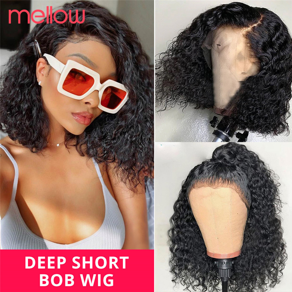 Brazilian Deep Wave Lace Front Wig Short Curly Bob Deep Curly Lace Front Wig Natural Black Remy Bob Human Hair For Black Women