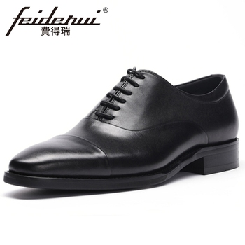 New Italian Genuine Leather Men's Handmade Cap Toe Wedding Bridal Oxfords Pointed Toe Laces Man Formal Dress Office Shoes BQL256