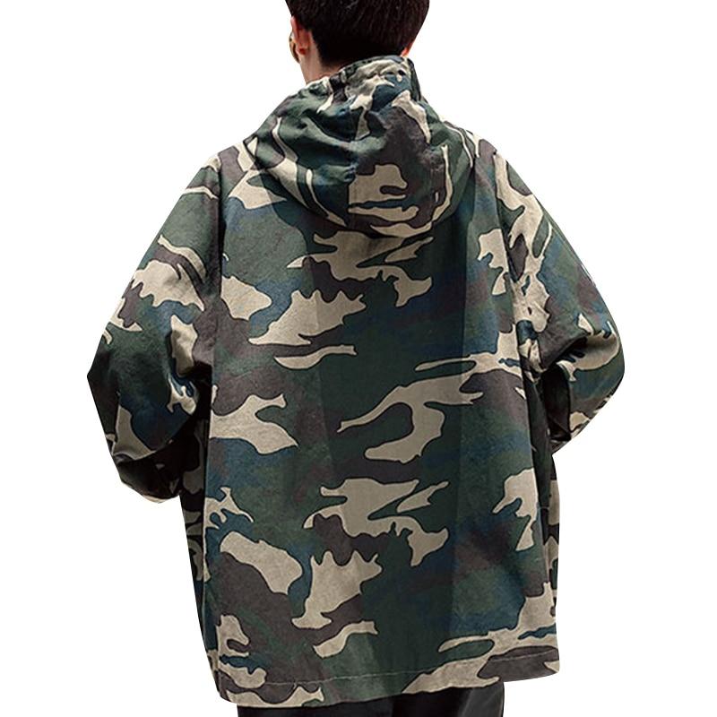 Men's Camouflage Zipper Jacket Hip Hop Loose Jackets Coats Long Sleeve Outwear Streetwear Camouflage High Quality Male Coat