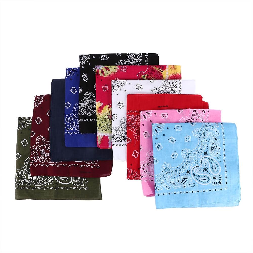Cotton Square Scarf Hip Hop Paisley Bandana Head Wrap Women Men Neck Wrist Band Handkerchief Extreme Sports Vintage Pocket Towel