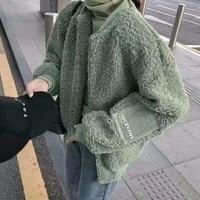 Winter Faux Fur Coat Lamb Shearling Coat Womans Jacket Korean Fashion Clothing Warm Loose Womens Clothing Fashion Overcoat