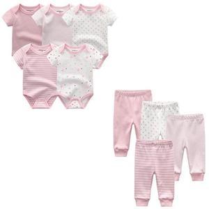 Image 5 - 9 adet/grup yenidoğan bebek giysileri setleri % 100% pamuk tulum + pantolon bebek tulum kız giyim pantolon Ropa Bebe yürümeye başlayan giyim setleri