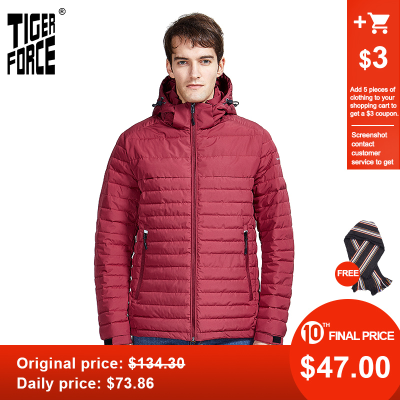 TIGER FORCE 2020 New Arrival Men Striped Jackets With Pockets High Quality Removing Hood Warm Coat Outerwear Zippers Parka 50629