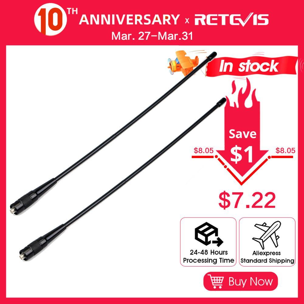 2pcs RETEVIS RHD-771 SMA-F Walkie Talkie Antenna VHF UHF Dual Band 39cm For Kenwood Retevis H777 RT5R Baofeng UV 5R 888S UV-82