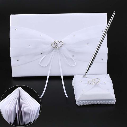 Guestbook com Caneta Acessórios de Casamento Assinatura Convidados Livros Coração Duplo Diamante Embelezado Cetim Festa Evento Suporte