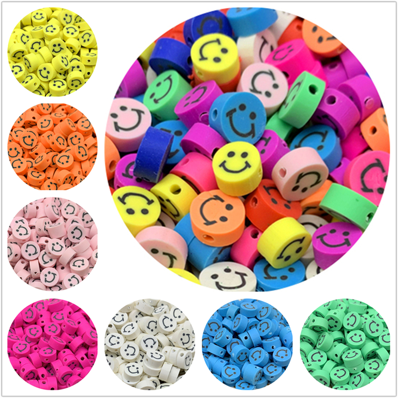 30pcs/Lot 10mm Smiley Beads Clay Spacer Beads Polymer Clay Beads For Jewelry Making DIY Handmade Accessories