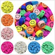 30 pçs/lote 10 milímetros Sorridentes Contas de Argila Espaçador Contas Polymer Clay Beads Para Fazer Jóias DIY Acessórios Feitos À Mão