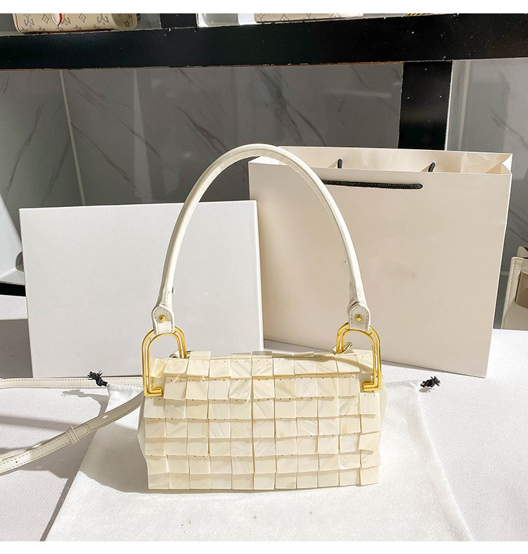 Bag For Women Designer Luxury Pure Natural Shell Flakes Bead Chain Woven Bag Evening Bags Clutch Female Travel Holiday Handbag-BeeInFly