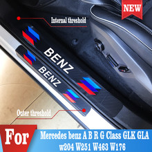 4PCS Car Door Sill Protector Stickers For Mercedes benz A B R G Class GLK GLA w204 W251 W463 W176 Accessories
