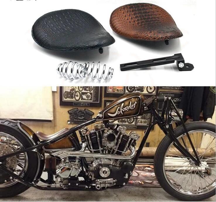 Bid4ze Motorcycle Black Leather Rivet Solo Seat 3 Spring Mounting ...