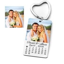 Chaveiro de calendário personalizado, chaveiro personalizado, foto, texto personalizado, presente de aniversário para namorado