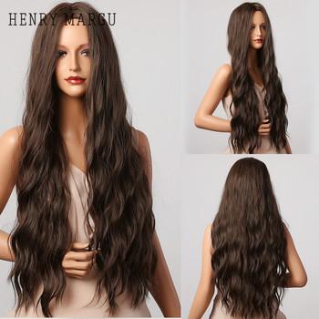 HENRY MARGU ciemnobrązowa fala peruki długie syntetyczne faliste naturalne włosy peruki temperatury dla czarnych białych kobiet codzienne peruki Cosplay tanie i dobre opinie Wysokiej Temperatury Włókna long Codziennego użytku CN (pochodzenie) Kręcone 1 sztuka tylko Średnia wielkość